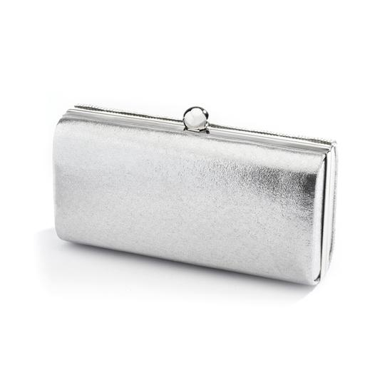Silver Micropave Crystal Clutch Evening Bag In Bridal Handbag