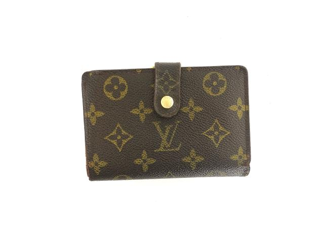 Louis Vuitton Brown Clutch Monogram Canvas and Leather French Compact Kiss Lock Wallet Louis Vuitton Brown Clutch Monogram Canvas and Leather French Compact Kiss Lock Wallet Image 1