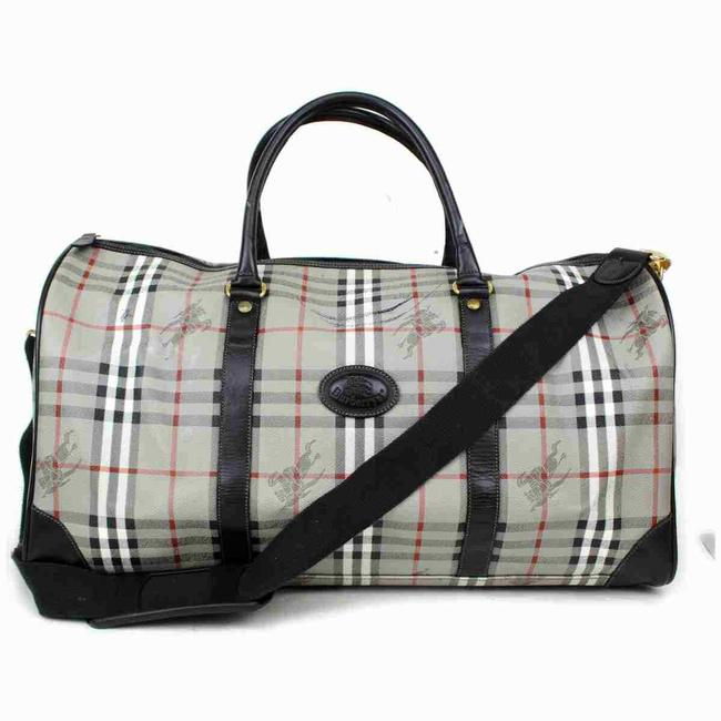 Burberry Duffle Ultra Rare Nova Check Boston with Strap 860655 Gray Coated Canvas Weekend/Travel Bag Burberry Duffle Ultra Rare Nova Check Boston with Strap 860655 Gray Coated Canvas Weekend/Travel Bag Image 1