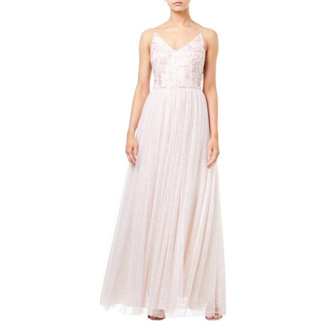 Item - Pink Sequin Embroidered Tulle Spaghetti Strap Long Night Out Dress Size 4 (S)