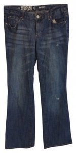 Mossimo Supply Co. Ripped Fadded Boot Cut Jeans-Dark Rinse