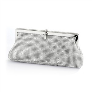 Silver Luxurious Double-sided Crystal Evening Bag Or Purse with Vintage Frame Bridal Handbag