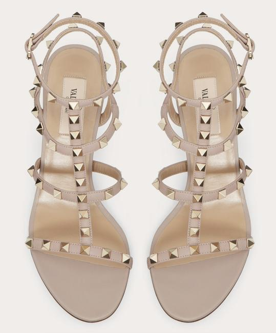 Valentino Red / Blush Nude Patent Leather Rockstud Caged T
