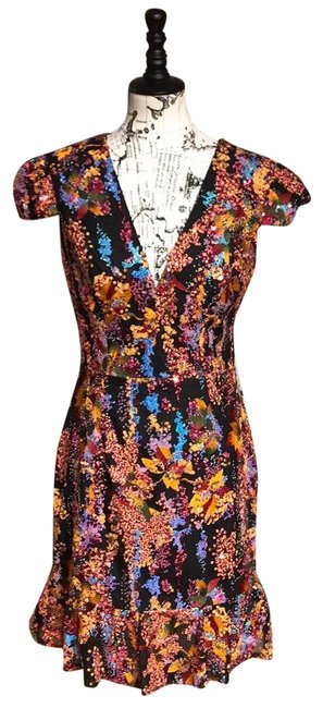 Item - Black Yellow Orange Sequin Floral Print Embellished Cap Sleeve Puffy Multicolor Embroidered Short Cocktail Dress Size 12 (L)