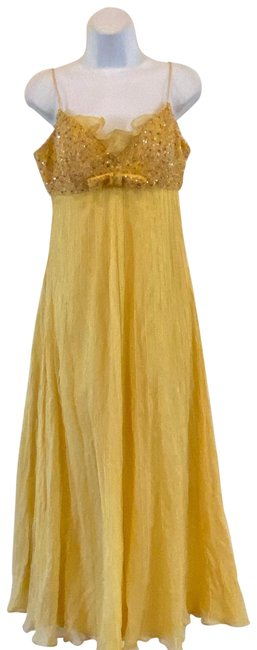 Item - Yellow Embellished Mid-length Short Casual Dress Size 10 (M)