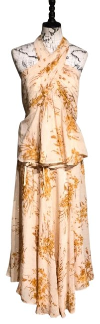 Item - Cream Pale Orange Peach Gold Salmon Silk Floral Print Set Of Two Halter Low Back Pleated A-line Fit Flare Mid-length Casual Maxi Dress Size 12 (L)