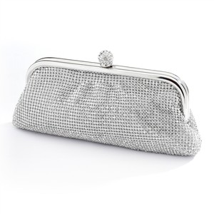 Bezel Set Double-sided Crystal Evening Bag Clutch With Vintage Silver Frame