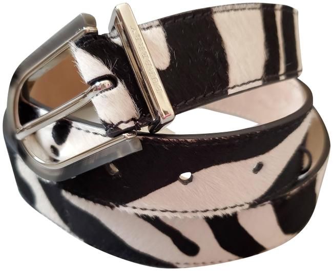 Burberry Black and White New Women Animal Print Calf Hair Leather Hip Belt Burberry Black and White New Women Animal Print Calf Hair Leather Hip Belt Image 1