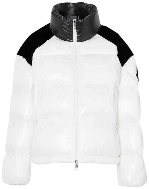 Item - White Chouelle Velvet-trimmed Printed Quilted Glossed-shell Down Jacket Coat Size 16 (XL, Plus 0x)