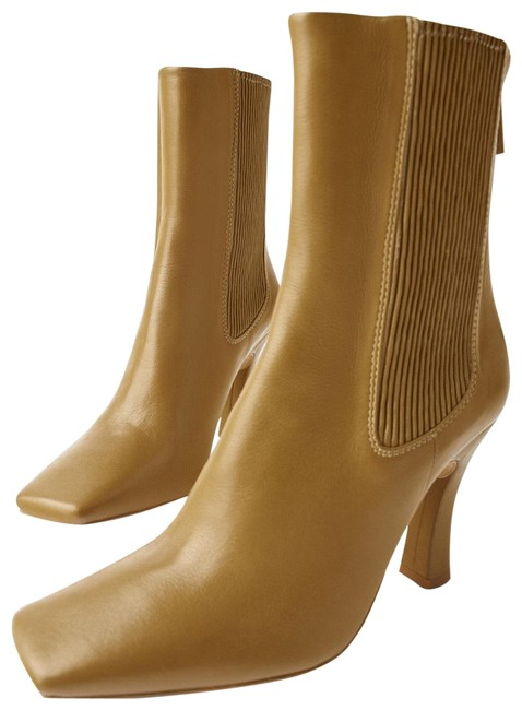 Item - Khaki Green High Heel Stretch Leather Ankle Boots/Booties Size US 8 Regular (M, B)