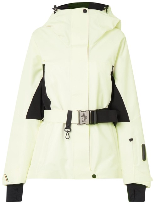 Item - White Grenoble Paquier Belted Two-tone Padded Shell Down Jacket Coat Size 0 (XS)