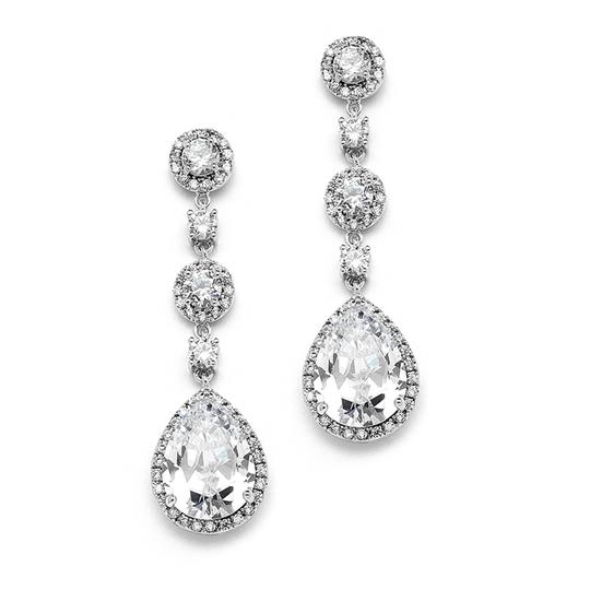 Silver Clip-on- Best-selling Pear-shaped Drop Clip with Pave Cz Earrings