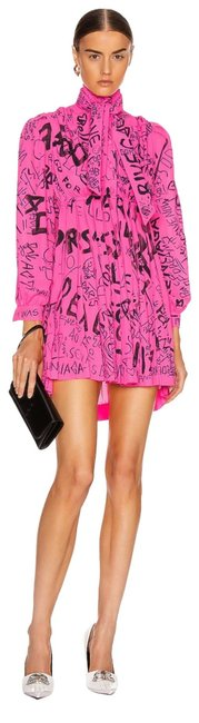 Item - Pink/Black Pleated Babydoll Short Casual Dress Size 6 (S)