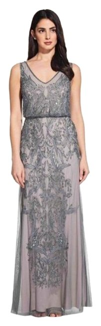 Item - Silver Blue Grey Evening Gown Long Formal Dress Size 4 (S)