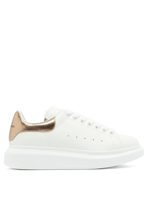 Item - White/Gold Mf Oversized Raised-sole Leather Trainers Sneakers Size EU 34 (Approx. US 4) Regular (M, B)