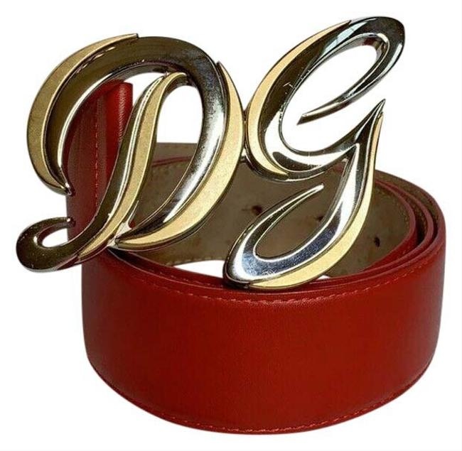 Item - Red Leather Gold & Silver Logo Buckle Size 85 Cm - 34 Inch Belt