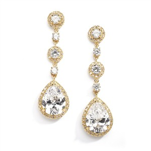 Clip-on 1k Gold Best-selling Pear-shaped Drop Bridal Earrings With Gold Pave Cz