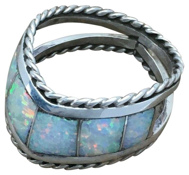 Item - Silver White Native American Sterling Opal Ring Size 7.5