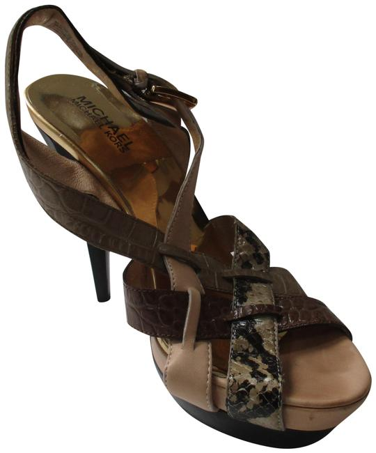 Item - Brown Taupe Beige Gold Edgy Strappy Mmk Croc Lizard Patent Open Toe Sandal Pumps Size US 7 Regular (M, B)