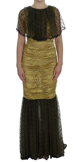 Item - Yellow and Black Lace Ricamo Gown G Long Formal Dress Size 4 (S)