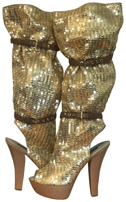 Item - Gold Sequin Buckle Platform Leather Rare Runway Open Toe Limited Edition Boots/Booties Size EU 39 (Approx. US 9) Regular (M, B)