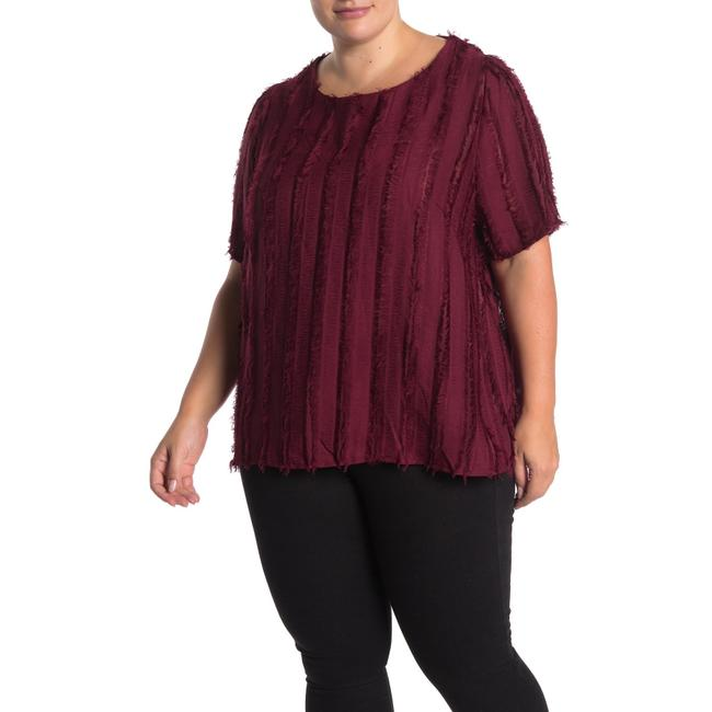 Item - Burgundy Shadow Stripe Eyelash Fringe Blouse Size 24 (Plus 2x)