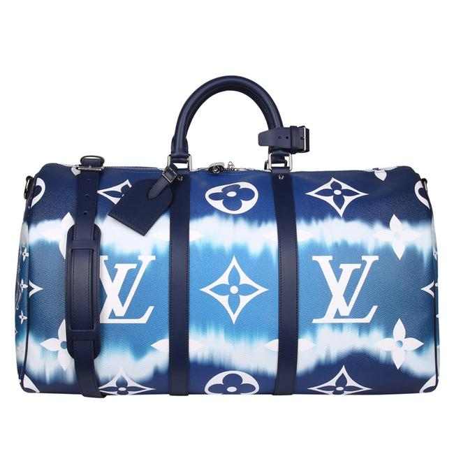 Louis Vuitton Keepall Escale Bandouliere 50 8773 Blue Coated Canvas Weekend/Travel Bag Louis Vuitton Keepall Escale Bandouliere 50 8773 Blue Coated Canvas Weekend/Travel Bag Image 1