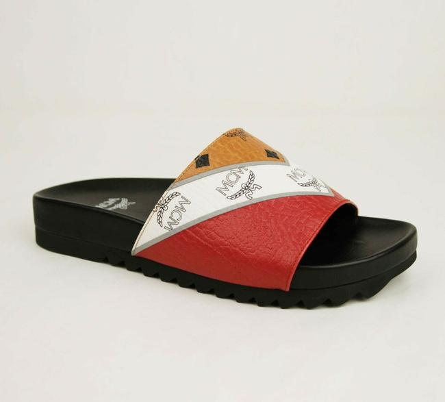 Item - Red/White/Brown Red/White/Brown Leather Visetos Slides Sandal 42 Mex9smm28co042 Shoes