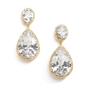 Clip-on Cubic Zirconia 14k Gold Plated Pear-shaped Bridal Earrings With Clip Back