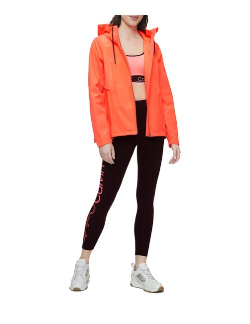 Item - Orange Performance Snap Zip Hooded Windbreaker Activewear Outerwear Size 8 (M)