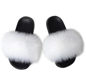 Couture Studio Real Fur Flip On Non Slip White Black Flats