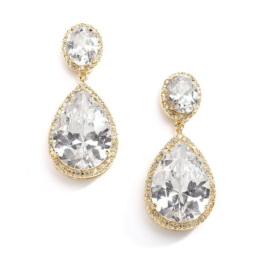 Gold 14k Plated Cubic Zirconia Pear-shaped Earrings