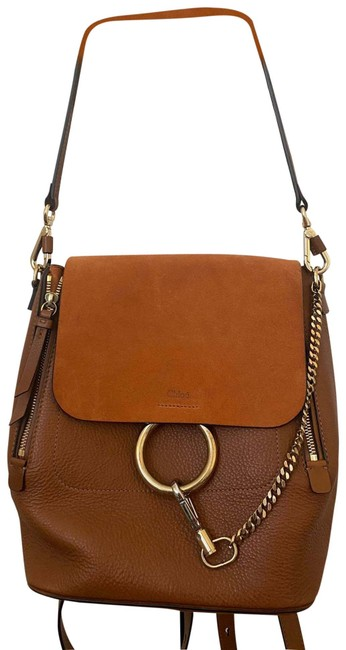 Item - Medium Tan with Persimmon Suede Lambskin Leather Backpack