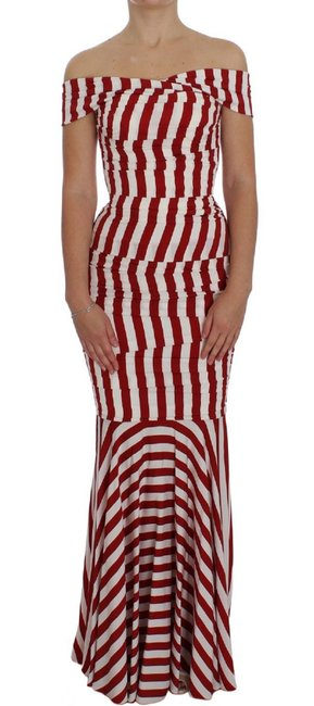 Item - Red and White Striped Silk Stretch Dolce & Gabbana Long Formal Dress Size 8 (M)