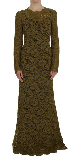 Item - Olive Green Floral Lace Ricamo G Long Casual Maxi Dress Size 4 (S)