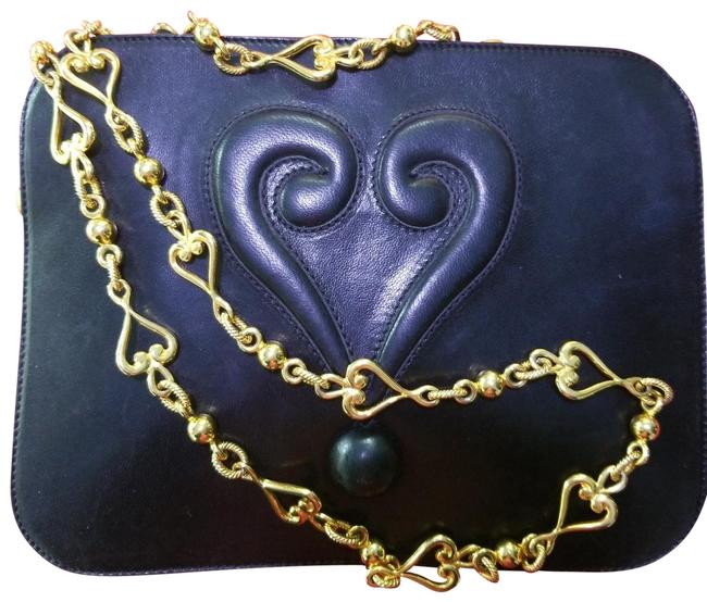 Item - Vintage Redwall Heart Shoulder Strap Black Lambskin Leather Cross Body Bag