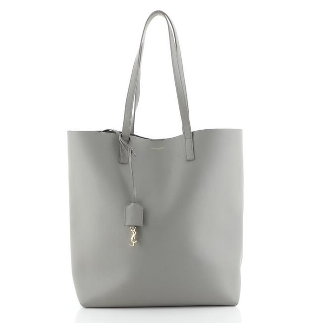 Item - Shopper Tall Gray Leather Tote