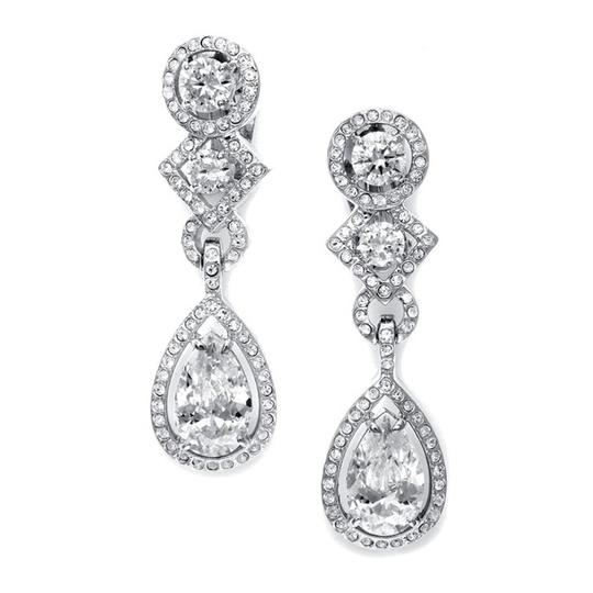 Silver Clip-on with Pear Shaped Cz Dangle Earrings