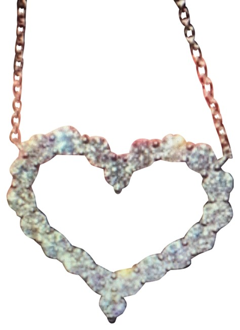 Item - Silver White Gold Crystal Heart Necklace