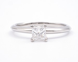 Tiffany & Co. With .54 Carat Princess Cut Centre In Pl Engagement Ring
