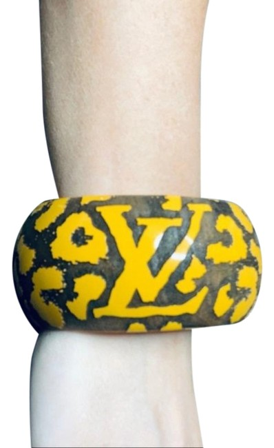 Louis Vuitton Yellow Cheetah Wood Bangle Bracelet Louis Vuitton Yellow Cheetah Wood Bangle Bracelet Image 1
