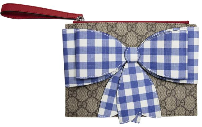 Item - Monogram Canvas W/ Blue Bow With Ribbon Wallet