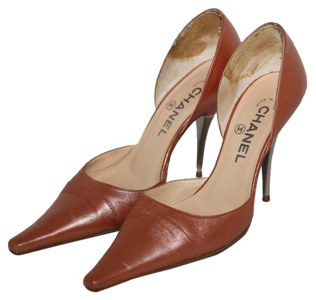 Item - Bronze Leather Pointed Toe Cut Out Pumps Size US 7.5 Regular (M, B)
