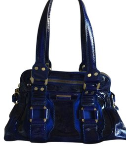 Jimmy Choo Mahala Patent Suede Electric Gold Hardware Tote in Blue