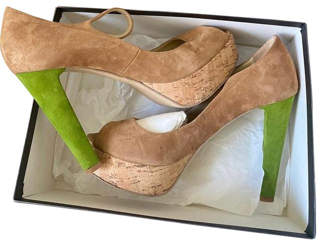 Beige and Lime Green Frnt482e Platforms Size EU 40 (Approx. US 10) Regular (M, B) Beige and Lime Green Frnt482e Platforms Size EU 40 (Approx. US 10) Regular (M, B) Image 1