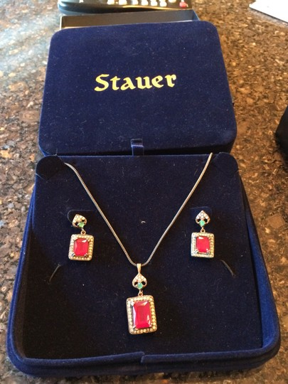 Stauer Stauer Ruby and emerald necklace and earrings set