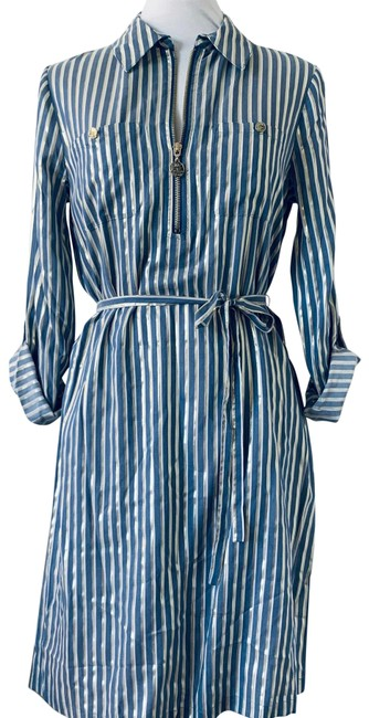 Item - Metallic Gold Blue White Striped & Belted Mid-length Cocktail Dress Size 6 (S)