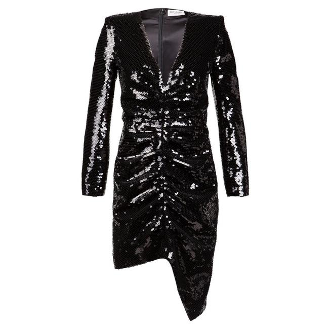 Item - Black 38 Sequin Long Sleeve Runway Short Night Out Dress Size 6 (S)