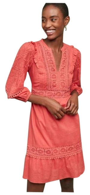 Item - Coral Anthropologie Josephine Embroidered Short Casual Dress Size 2 (XS)