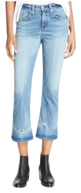 Item - Vale Wash Distressed 10 Inch Flare Leg Jeans Size 24 (0, XS)